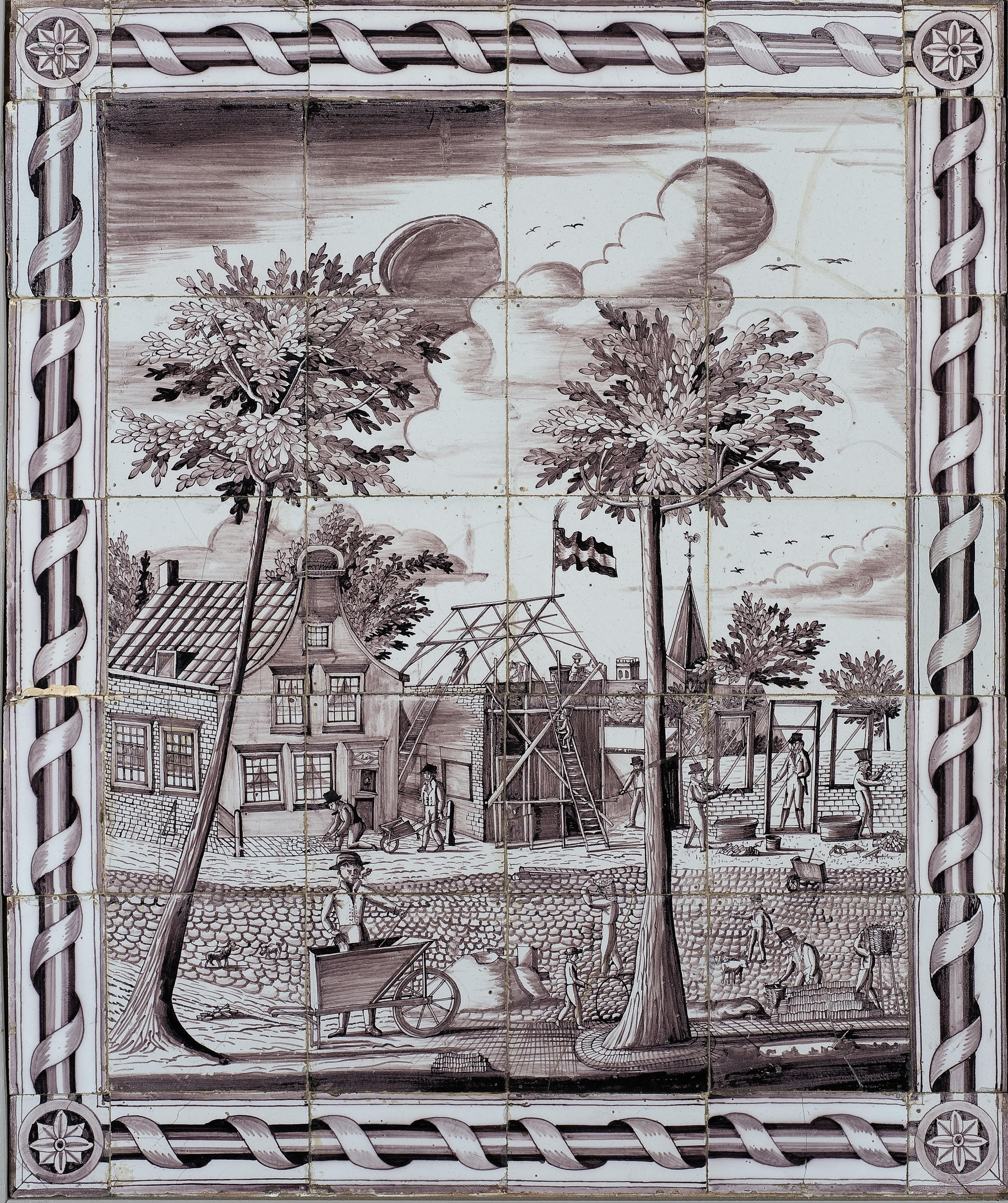 Paars tegeltableau met decoratieve rand, zicht op een bouwbedrijf