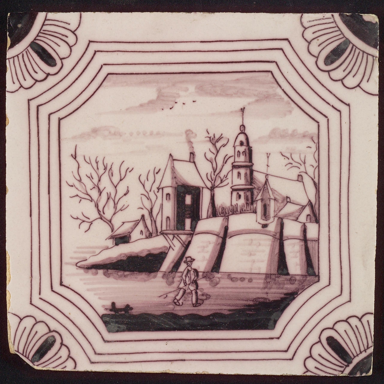 Tafereeltegel, in dubbel gebogen achthoek, kerk met huizen, hoekmotief kwartrozet