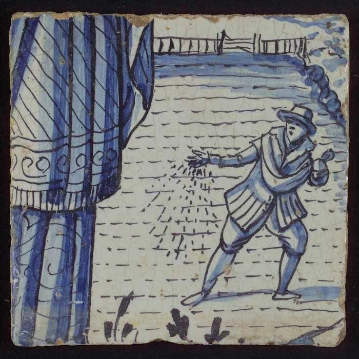 Tegel uit tableau 'Hoop' met in blauw zaaier op land