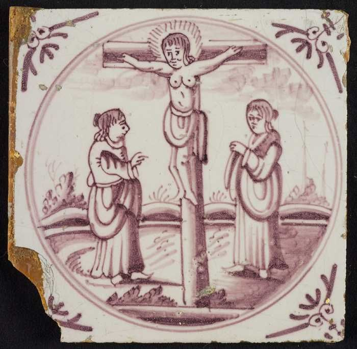 Tafereeltegel, Jezus aan het kruis, hoekmotief ossenkop