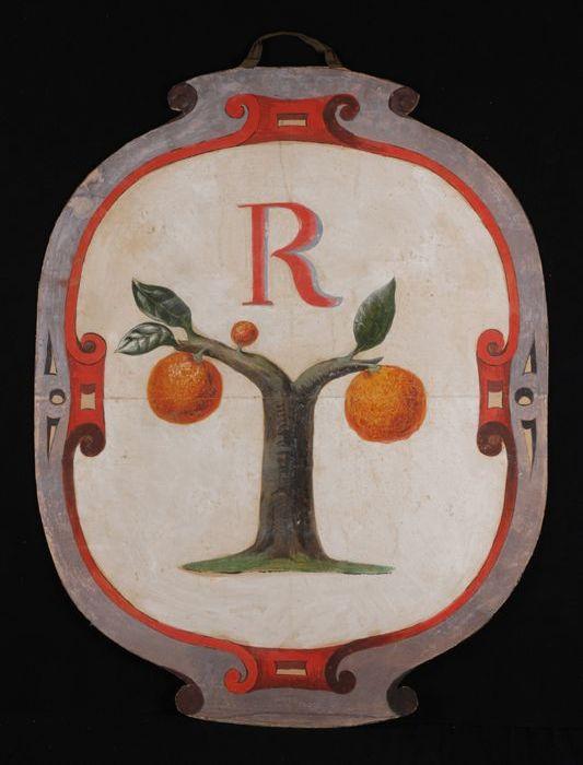 Ontwerp voor blazoen, met afbeelding van boom waaraan twee sinaasappels en drie blaadjes, geschilderd op ovaal stuk karton