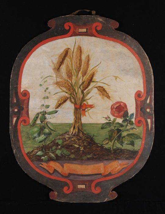 Ontwerp voor blazoen, met afbeelding van bundel graanhalmen en rode roos, geschilderd op ovaal stuk karton