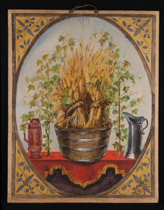 Ontwerp voor blazoen voor het brouwersgilde, met afbeelding van bundels graanhalmen en hopranken