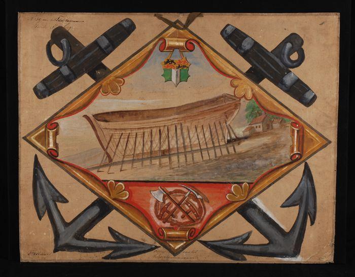 Ontwerp voor blazoen voor het scheeptimmermansgilde, met afbeelding van houten schip in aanbouw en twee gekruiste ankers