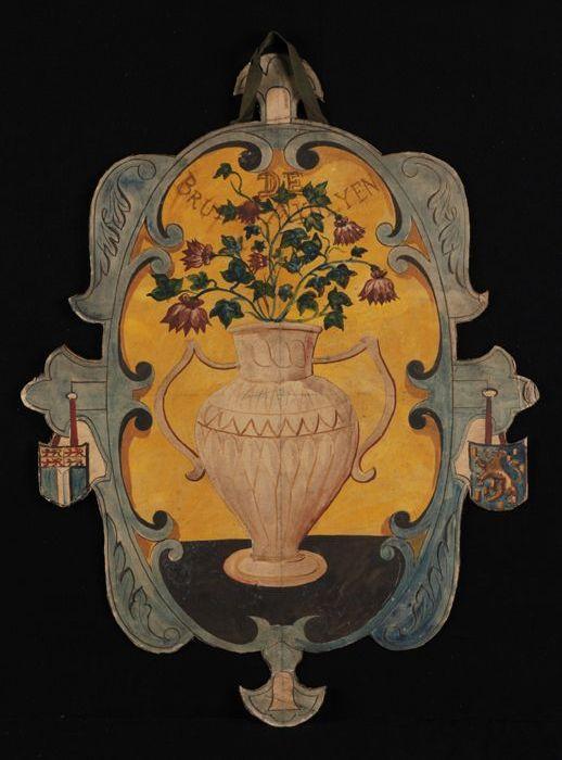 """Ontwerp voor blazoen, met afbeelding vaas bloemen (akelei) en opschrift """"De Bruine Akolyen"""""""