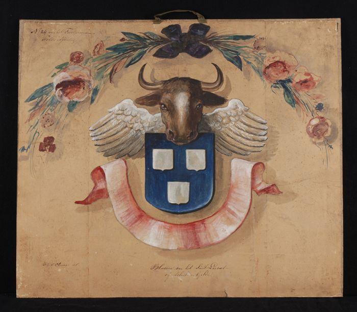 Ontwerp voor blazoen voor St. Lucas- of schildersgilde, met wapenschild, kop van rund, twee vleugels en banderol