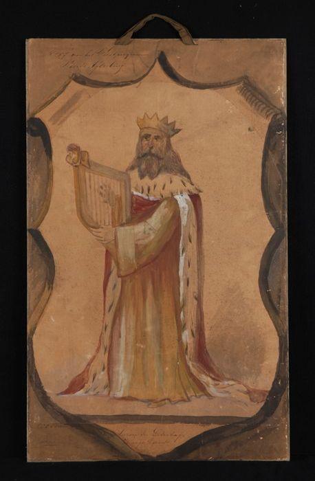 """Ontwerp voor blazoen voor Liedertafel """"Harpe Davids"""", met afbeelding van harpspelende koning David"""
