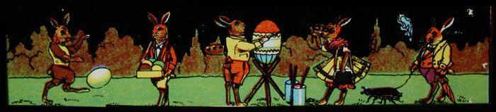 Lantaarnplaat met aangeklede hazen en geverfde eieren