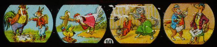 """Lantaarnplaatje """"J.F."""", vier taferelen met aangeklede dieren"""