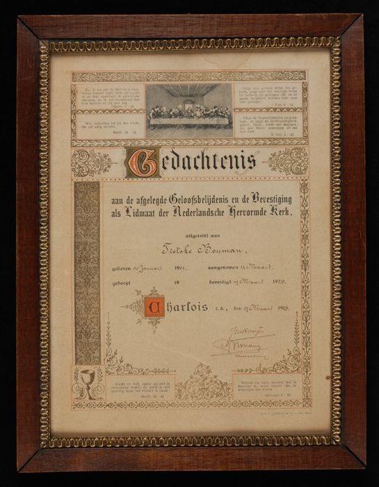 """Ingelijste geloofsbelijdenis van """"Tietske Bouman"""" uit Charlois, 1929"""