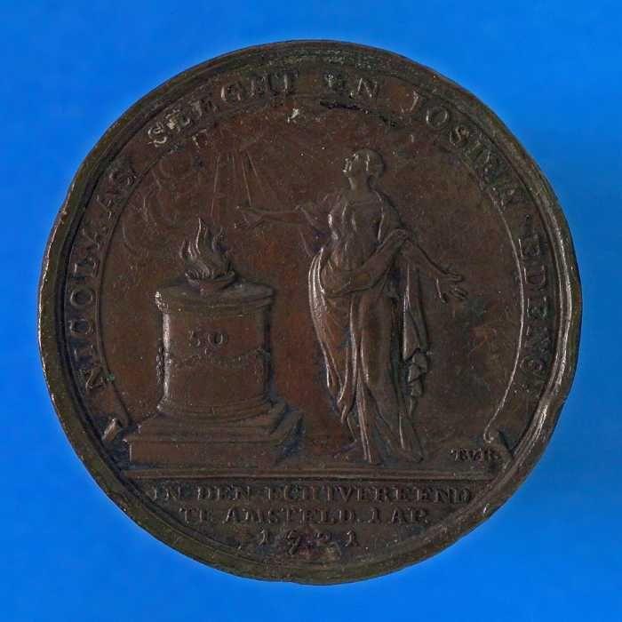 Penning op het 50-jarig huwelijk van Nicolaas Sleght en Josina Edens op 1 april 1771