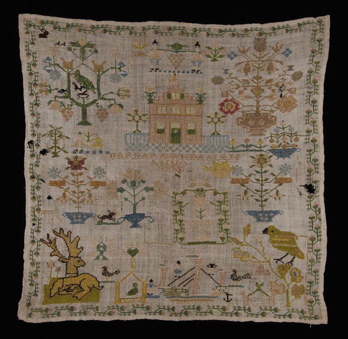 """Merklap gewerkt in kruissteek in veelkleurig zijde op crèmekleurig linnen, gemerkt, """"Barbara van Daalen / 1774"""""""
