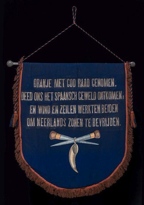 Blauw katoenen vaandel of banier van de Rotterdamse zeilmakersvereening