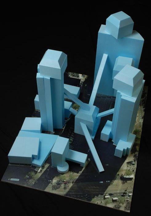 Maquette 'HI-STORY 5, mix': ontwerp door architectenbureau MVRDV voor uitbreiding van Het Schielandshuis op locatie