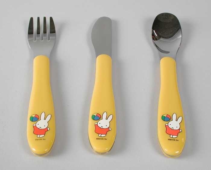 Kinderbestek Nijntje, bestaand uit lepel, mes en vork