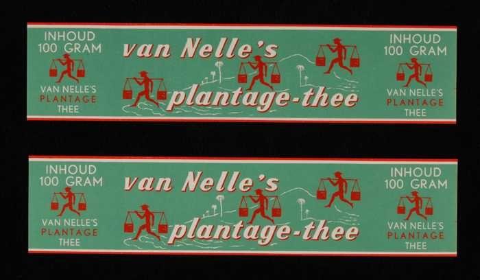 Twee groene labels VAN NELLE'S PLANTAGE THEE, 100 gram