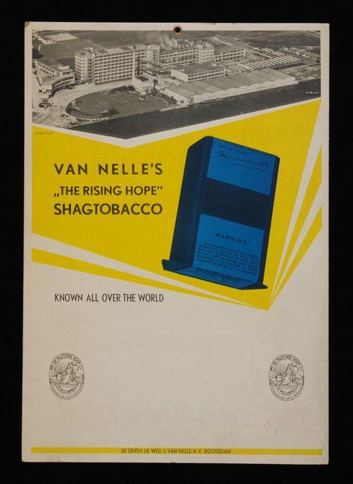 Kartonnen reclamebord voor Van Nelle´s Shagtobacco met foto van de fabriek