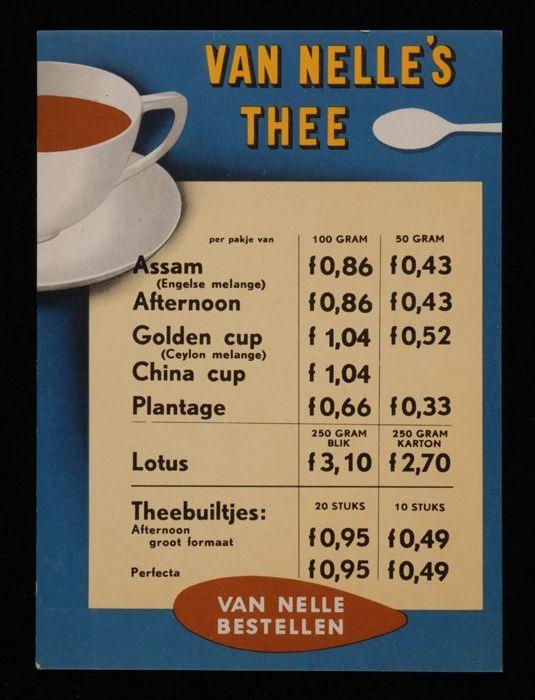 Kleine prijslijst Van Nelle's thee, met halve kop thee en lepel