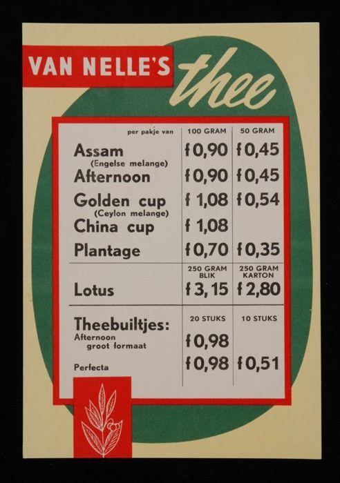 Kleine prijslijst Van Nelle's thee