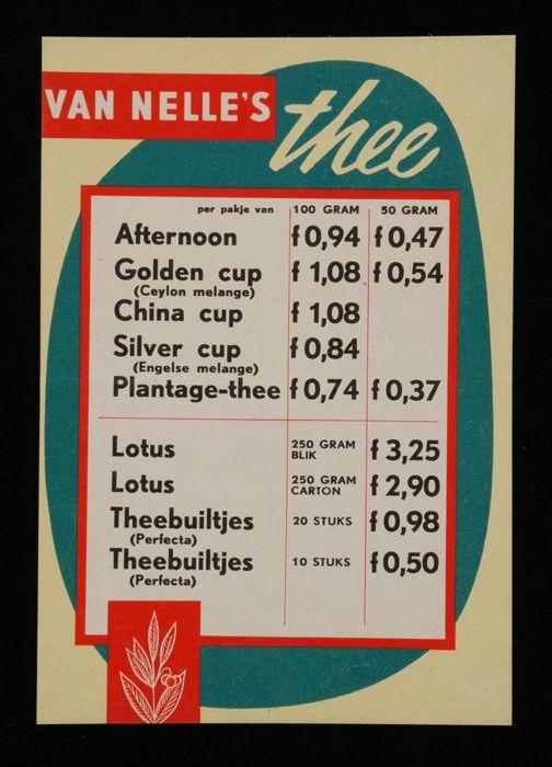 Twee kleine prijslijsten Van Nelle's thee