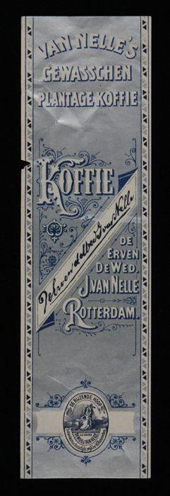 """Zilveren label Van Nelle's """"GEWASSCHEN PLANTAGE KOFFIE"""""""